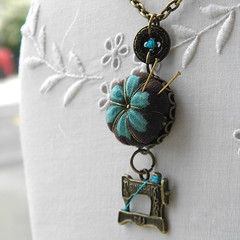Sewing Necklace (Wychbury Designs) Tags: uk vintage design necklace handmade lace sewing yorkshire victorian craft pins jewellery fabric gift button pincushion etsy wearable needles needlebook needlecraft folksy wychbury