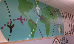 Wall4 - white, purple and black planes traverse the world (Susan Schwerin) Tags: school dc washington mural thomas earth planes atlas oceans elementary brower neval capitals monumental continents schwerin dcps beautificationday backstrom susanschwerin