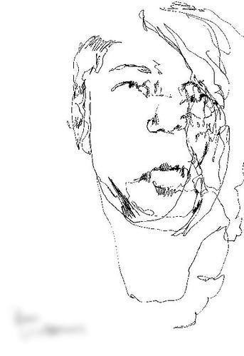 """visiteur 25<br /><span style=""""font-size:0.8em;"""">Mon portrait dessiné à l'aveugle par le visiteur d'une de mes expositions</span> • <a style=""""font-size:0.8em;"""" href=""""http://www.flickr.com/photos/12564537@N08/9683448527/"""" target=""""_blank"""">View on Flickr</a>"""