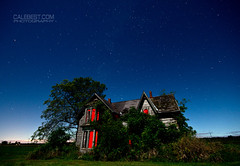 The House on Highway 3. (Cale Best Photography) Tags: wood longexposure nightphotography blue red summer ontario canada lightpainting abandoned halloween horizontal mystery night farmhouse stars scary decay farm haunted creepy spooky worn mysterious weathered clearville