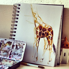 A day at the Zoo (zimonja) Tags: color art nature animal illustration watercolor zoo sketch drawing vibrant aquarelle spots giraffe belgrade croquis emazimonja