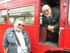 Driver Gill & Conductor Neil with the LT AEC Routemaster bus RM1966 at North Weald, EOR Epping Ongar Railway 19.04.15 (Trevor Bruford) Tags: bus london heritage north transport railway routemaster epping lt weald aec ongar eor rm1966