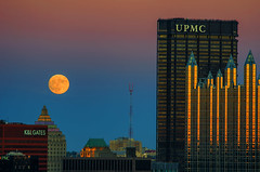 Super-Sized Moon (Brad Truxell) Tags: exposureblending supermoon moon fullmoon pittsburgh city reflection sunset buildings sigma70200mm nikond7000