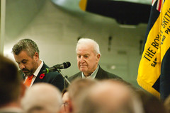 1 pm service, Air Space (ST 251) Tags: remembrance ceremony duxford iwm harvar harvard dragon rapide dragonrapide flight aircraft poppy drop service memorial remember ww1 ww2 anglian regiment band last post air raf royal force british legion saweston cadets