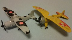 MANDARIN PZL P11C # B-09 & LYSANDER # B-10 (NyamalaTone) Tags: toy airplane avion jouet juguete vintage collectible flugzeug