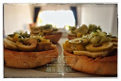 Bruschetta 'Mar Menor' (RagbagPhotography) Tags: ajo alcachofa acietuna olivio cebolla artichoke meal lunch marmenor rolls toasted garlic oil chillies green olives onions bruschetta salad food challenge 366 365