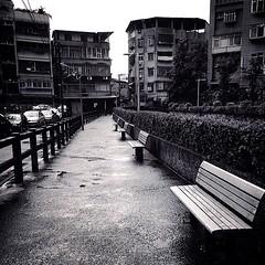 Alley of Taipei. (Ashyblue07) Tags: city residentialbuilding residentialstructure citylife street outdoors bench rainydays taipei taipeicity taiwan blackandwhite blackandwhitephotography photography iphone5s iphonephotography