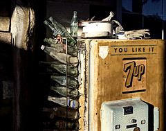 02469303-81-You Like it 7Up-1 (Jim There's things half in shadow and in light) Tags: 2016 america canon5dmarkiv eldoradocanyon mojavedesert nevada oct places sigma24105mmf4dg usa fall 7up cokebottles rust