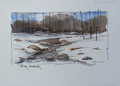 A winter stream. (Peter Sheeler) Tags: video youtube youtubers landscape art original watercolor winsorandnewton watercolour painting paintingaday penandink architecture ink moleskinearts canada imagesofcanada waterbrush arches lamy uniball higgins fountain soluble winter stream