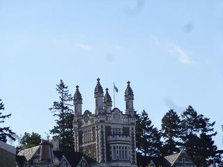 Dunedin. Detail of the central tower of Otago BOys High School designed by local architect  Robert Lawsons and opened in 1885.