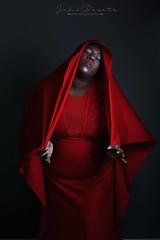 (Cammydoll) Tags: red dress flowing black woman ebony chocolate cosplay bbw curvy plussize plus size silver gray greyhair veil