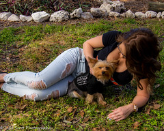 Kalli and Zoey (165) (BuccaneerBoy) Tags: yorkie yorkshireterrier puppy dog woman girl female hooters hooterscalendargirl florida clearwater largo seminole stpetersburg model beautiful lovely fun family fall autumn november