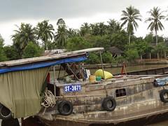 Foot steering (program monkey) Tags: vietnam mekong river delta cargo boat ben tre tra vinh foot steer wheel