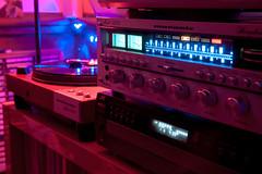 Sound and vision (DjD-567) Tags: audio electronics marantz turntable hifi vintage nikon d90 lights lowlight darkness colors blue jvc