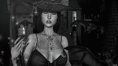 chappe Belle ( Baronne ) Tags: secondlife avatar portrait sl 3d fr french halloween october octobre tattoo busty cleavage whitewidow witch sorciere teefy n21 kinky ro remarkableoblivion wizard mad cunt badge gacha rare bw monochrome photo pic picture blueberry broom fireflies bat chauvesouris cute lady pretty girly spiderweb catwa breast profile titzuki facetattoo metaverse nuit night spooky creepy magic azoury necklace accessory accessories accessoires castle chateau