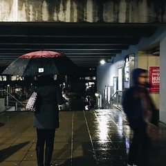 Red and rainy - 315 - (maxjomoore1993) Tags: light stairs lines composition blue red vscocam iphone university urban candid people variation shutter contrast dark wet rainy rain weather