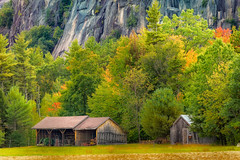 Hint of fall (FotoFloridian) Tags: farm shed rural autumn newhampshire newengland cathedral ledge sony a6000 alpha whitemountains