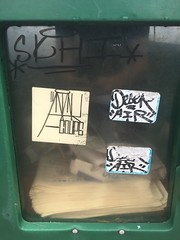 Stickers (MaxTheMightyy) Tags: chicago chi chicagograffiti graffiti graff graf tag tags tagging tagged taggers vandal vandalized vandalism vandals spray sprays spraypaint painted paint street streetart art graffitiart sticker stickers slap slaps slaptagging slaptag hiphop hip hop atak coupe couper deser air skhi