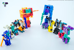 G2_Protectobots_v_Stunticons_bots (Weirdwolf1975) Tags: tfylp transformers podcast megatoyfan g2 generation2 defensor protectobots streetwise firstaid blades groove hotspot stunticons menasor motormaster deadend wildrider breakdown dragstrip unreleased