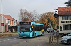 "YK08 EPU, Ipswich Buses Optare Versa 151, passing the Kesgrave ""Bell"", 27th. November 2016. (Crewcastrian) Tags: kesgrave ipswich thebell transport buses ipswichbuses parkride optareversa yk08epu 151"
