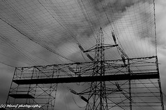 Pylon repairs. ((c) MAMF photography..) Tags: pylon electricity britain blackandwhite blackwhite bw biancoenero clouds autumn england enblancoynegro flickrcom flickr google googleimages gb greatbritain greatphotographers inbiancoenero image mamfphotography mamf monochrome nikon noiretblanc noir north negro nikond7100 northernengland photography photo pretoebranco schwarzundweis schwarz sky uk unitedkingdom upnorth westyorkshire yorkshire zwartenwit zwartwit zwart