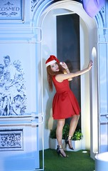DP1U9995 (c0466art) Tags: share love christmas nightb photo beautiful decroration lamps nasa mogolia student pretty face eyes straight nose red color cloth east center street taipei portrait light canon 1dx c0466art