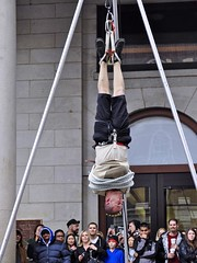 Escape, Jason! (AntyDiluvian) Tags: boston downtown escape upsidedown massachusetts rope mohawk hanging streetperformer marketplace tied tight quincymarket faneuilhall straitjacket escapeartist jasongardner jasonescape