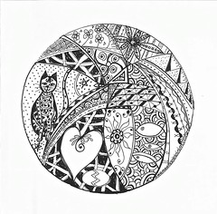 Cat Zentangle (findingthenow) Tags: white fish black cat heart egg doodle card zentangle
