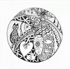Cat Zentangle (findingthenow) Tags: white fish black cat heart egg doodle card zentangle
