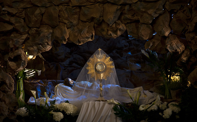 Adoration of The Blessed Sacrament by the tomb of Jesus