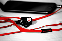 Beats by Dr. Dre (Aljone) Tags: b red music monster ipod cable cables wires headphones cans beats selective inear ipodtouch drdrebeats beatstour beatsbydrdre