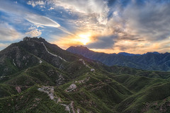 Wohushan Great Wall Sunset (Greg Annandale) Tags: china blue sunset wild orange sun mountain mountains beautiful wall clouds trekking canon high glow great beijing winding greatwall viewpoint 1740 steep thegreatwall greatwallofchina boxhouse promote gubeikou canon5dmkii canon5dmk2 greatwallboxhouse