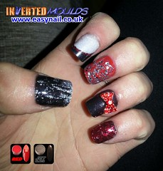 Cheryl Red Black Silver (invertednailsystems) Tags: uk pink orange black art yellow glitter training silver gold amazing neon pretty im nail powder course nails salon technician extension inverted false ims extensions nailart courses moulds enuk invertednailsystems easynail easynailuk