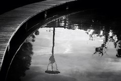 Reflections (Randomthoughtstome) Tags: blackandwhite lamp pond bridges