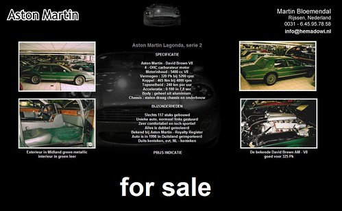 Aston Martin Lagonda series 2 - Green - for sale in Netherlands check Facebook - hemadowi