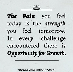 The pain you feel today is the strength you feel tomorrow. In every challenge encountered there is opportunity for growth. (deeplifequotes) Tags: opportunity for is pain you feel growth every there strength tomorrow today challenge the in encountered