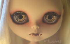 Silver Moon (Art_emis) Tags: new moon make up silver hair carved chat doll long hand handmade drawing ooak painted blythe mold custom takara eyelids capuccino rbl reshaped