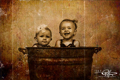 #340 Back in the Day (Keele_Photography) Tags: old girls smile metal sepia vintage 50mm nikon 14 bow tub sit laugh 365 nikkor fx d600 jrx radiopopper
