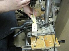"Drilling holes for the knob shafts • <a style=""font-size:0.8em;"" href=""http://www.flickr.com/photos/61091961@N06/8933235336/"" target=""_blank"">View on Flickr</a>"