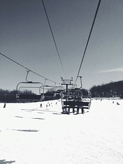 Skiing (vanessatoula) Tags: winter blackandwhite snow landscape skiing pennsylvania pa skilift snowscape iphone vsco