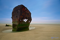 Shipwreck (Graham_Walsh) Tags: longexposure blue ireland red sky green beach water yellow sand rust shipwreck remains louth drogheda baltray colouth mvirishtrader