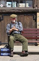 Lincoln Cathedral Clarinetist - June 2013 - Take 5 (gareth1953 New Profile) Tags: park street sunshine bench beard sitting candid gray oldman lincoln cobbles performer flatcap clarinetist canoneos450d cathedralscandidsjune