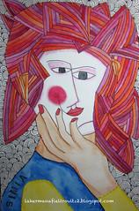 simia (lahermanafieltrovitz) Tags: red portrait art colors lady illustration ink watercolor painting hair japanese spain artist chinese stitching oriental hairstyle ilustracion peinado ilustracin simia fieltrovitz