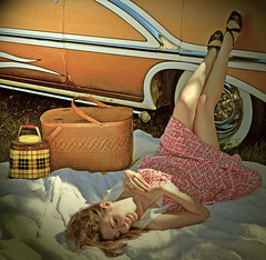 """Nikki Bee and our 1956 Watson styled Oldsmobile. • <a style=""""font-size:0.8em;"""" href=""""http://www.flickr.com/photos/85572005@N00/10031075044/"""" target=""""_blank"""">View on Flickr</a>"""