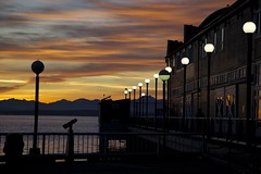 Into the sunset (Getting Better Shots) Tags: seattle sunset water lights pier dock downtown waterfront oldbuildings elliottbay