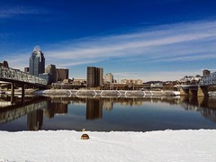 Snowy Banks (MichaelaMarieLawson) Tags: snow water buildings landscapes kentucky cities bridges newport newportonthelevee