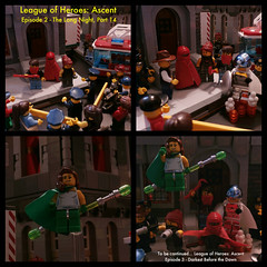 The League of Heroes: Ascent - Episode 2: The Long Night - Part 14 (jgg3210) Tags: city man crimson silver long lego cloak dare trixie ascent loh sentry minifigure the moc indestructible trickshot minifigures leagueofheroes newbrickton viridia