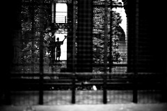 deliver me into my fate (www.davideserafin.com) Tags: street bw white black history window look lines silhouette statue bar composition 35mm reflections dark hope mono mirror reflex fuji dof view emotion artistic time pov framed secret dream surreal away cage bn story fate camouflage frame fujifilm bianco nero let tale deliver padova separation overtime 23mm