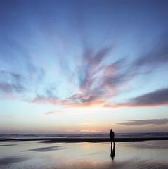 Coastal Sunset III (Aaron Bieleck) Tags: ocean sunset reflection 6x6 film beach sarah oregon analog square nw or 120film pacificnorthwest silohouette hasselblad500cm filmisnotdead kodakportra160
