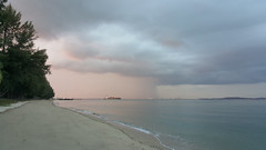 """Storming"" the Front (ang_lixing) Tags: camera sea beach beautiful clouds dark sand singapore ship phone cloudy scenic samsung front galaxy majestic downpour phonetography s6 storming"